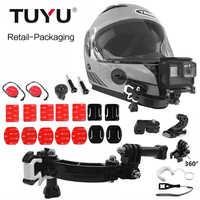 Support de casque de moto à Base de TUYU pour OSMO Action SJCAM sj4000 Xiao mi GoPro HERO 7 6 5 EKEN H9 boucle de tourne-disque à 4 voies