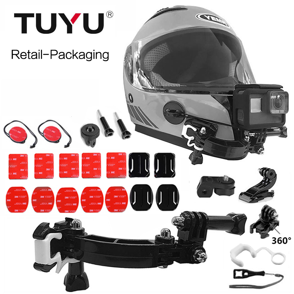 TUYU Mount Base Motorcycle Helmet Bracket For OSMO Action SJCAM Sj4000 Xiao Mi GoPro HERO 7 6 5 EKEN H9 4 Ways Turntable Buckle