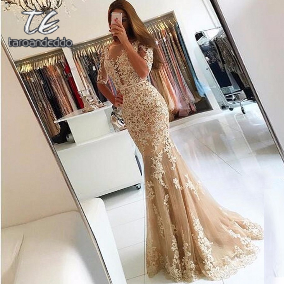 Scoop Half Sleeves Long   Prom     Dresses   Mermaid Open Back Applique Evening Formal Party   Dress   with Back Buttons Vestido De Fiesta