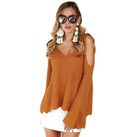 women's V-neck Strapless sweater,female long sleeves computer knitted sweater