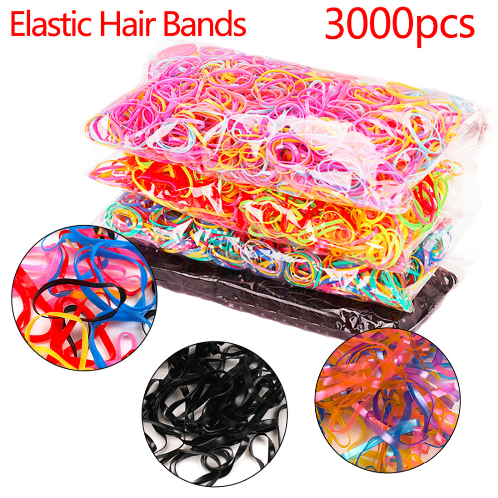 About 3000pcs/pack Korean Candy Color Elastics Hair Bands Headw TPU Band Rubber Holders Hair Accessories for Girls Hair Rings