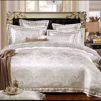 4 6/Pcs White Jacquard Silk Bedding sets Queen King size lace Bedclothes Cotton Bed linen Satin Duvet cover bed sheet Luxury