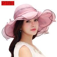 PTAH 2017 Kadınlar Geniş Brim Disket Güneş Şapka Yaz Organze Ipek Katlanabilir Plaj Güneşlik Şapka Çiçek Yay Ayarlanabilir Chapéu 0540
