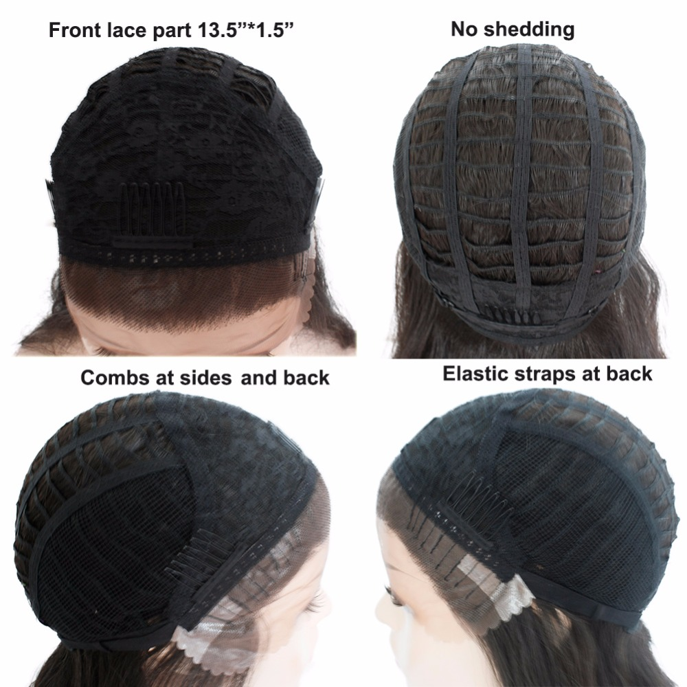 Ombre Brown Straight Synthetic Lace Front Wigs For Black Women Natural Black Glueless Free Part Lace Wigs With Baby Hair SOKU