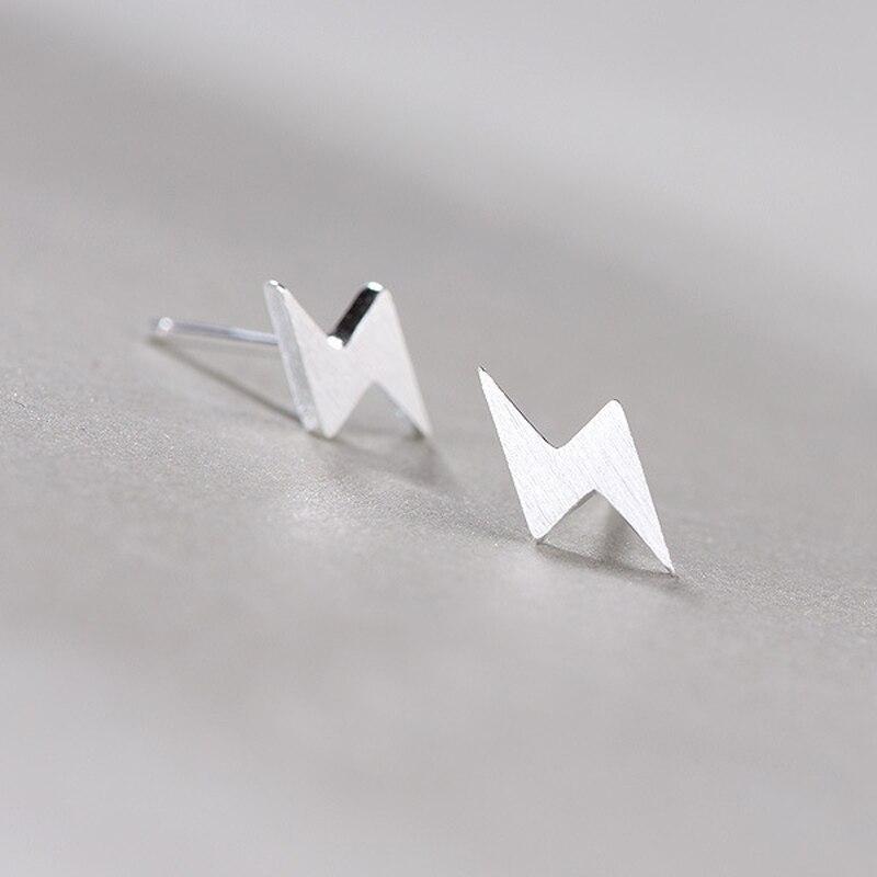 925 Sterling Silver Tiny Lightning Bolt Stud Earrings Simple