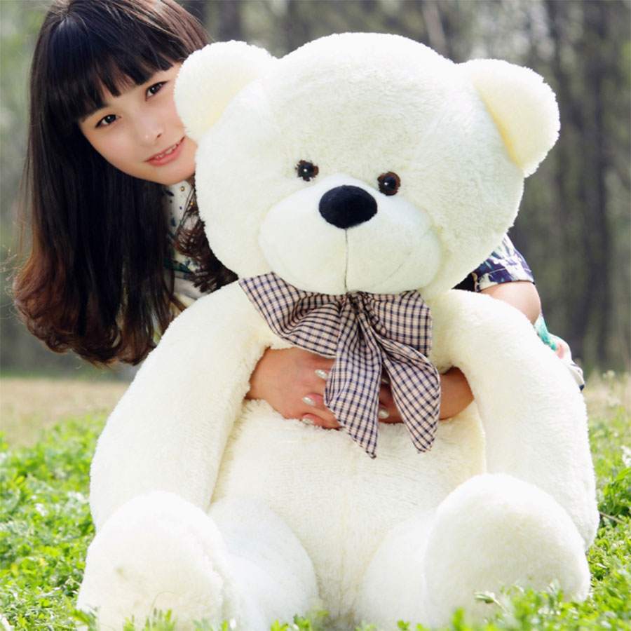 80cm-200cm Large Pure white teddy bear Animals plush stuffed toys, plush joint bear doll, girl Adults birthday valentine gift стоимость
