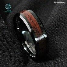 8 мм Мужская карбида вольфрама кольцо красного дерева с инкрустацией черный plat обручальное кольцо Бесплатная доставка
