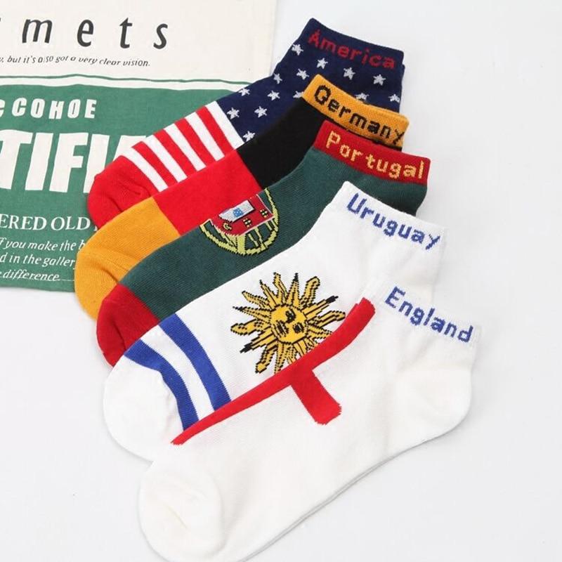 Fashion Design National Flag Funny Men Short Socks Male Art Patterned Summer Socks Cotton Soft Harajuku Socks No Show Hosiery
