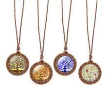 Gustav Klimt Art Tree Painting Rope Necklace of Life Jewelry Vintage Wooden Pendant Statement Christmas Gifts
