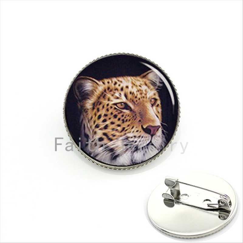 Leopardo legal pture bijoux broche homens jóias Cheetah wildlife animal selvagem pins cabochão de vidro presente de aniversário para o pai KC555