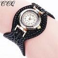 CCQ Fashion Leather Bracelet Watch Women Wristwatch Casual Gold Classic Rhinestone Quartz Watch Electronic Wrist Watches 2085