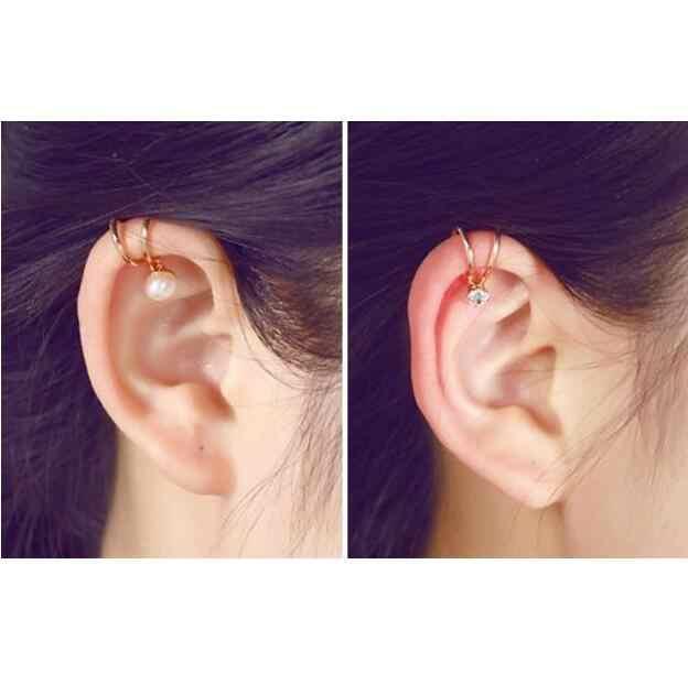 EY739 2019 Venta caliente estrella Luna pendientes corazón perla pendientes oreja para mujeres sin agujero de oreja pendientes joyería al por mayor 1 piezas