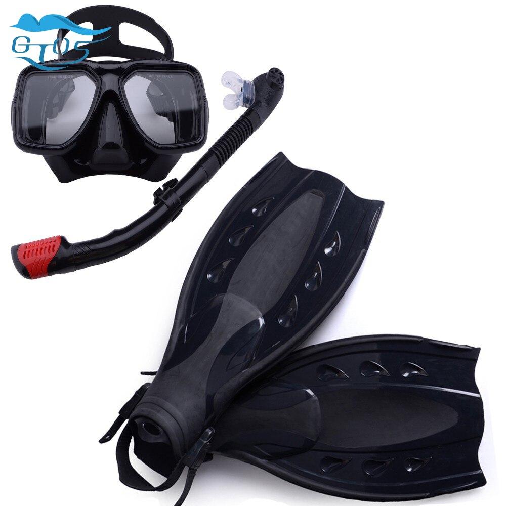 scuba diving equipment 3pcs of set,dive mask and snorkel flipper kit, mask snorkeling,fins diving equipment