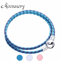 Moonmory 2017 Summer Lvory White Pink Blue Braided Double Leather Charm Bracelet For Women 925 Sterling