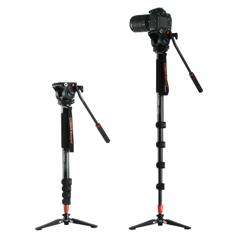 Coman KX3232 Aluminum Alloy Tripod Video Monopod with Fluid Pan Head 3 Feet Support Unipod Holder