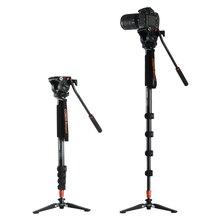 Коман KX3232 алюминиевого сплава штатив Видео монопод с жидкость с цилиндрической головкой + 3 ноги поддержка UniPod держатель для Canon Sony цифровых зеркальных фотокамер Nikon