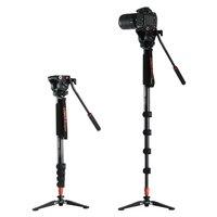 Coman KX3232 Aluminum Alloy Tripod Video Monopod with Fluid Pan Head + 3 Feet Support Unipod Holder for Canon Sony Nikon DSLR