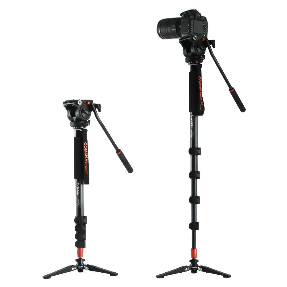 Coman KX3232 Trépied En Alliage D'aluminium Monopode Vidéo Fluide Tête Cylindrique + 3 Pieds Support Unipod pour Canon Sony REFLEX NUMÉRIQUE Nikon
