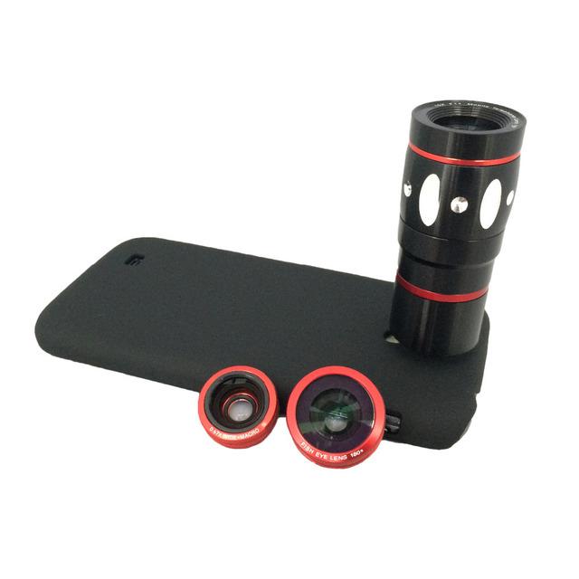 Orbmart ojo de pez Macro gran angular de 10x de Zoom telescopio lente de la cámara con contraportada protectora para Samsung Galaxy S4 I9500