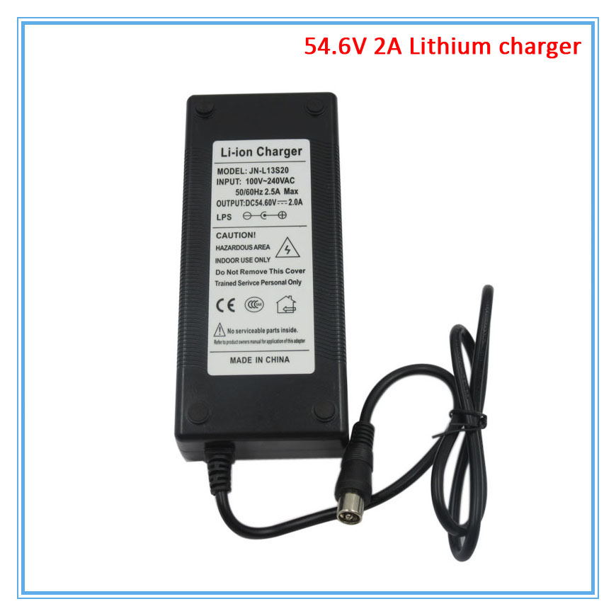 10PCS/LOT 54.6V 2A charger RCA Port 48V 2A charger for 48V 13S electric bike lithium battery DHL Free shipping