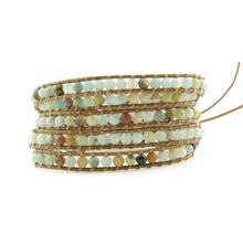 Exquisite Amazonite Beads 5 Strands Weave Leather Wrap Bracelet Multi Layered Vintage Bracelet Gifts layered rhinestone faux leather bracelet