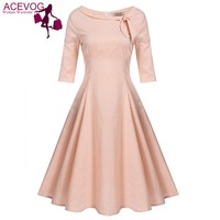 ACEVOG 2017 Summer Polka Dots Dress Women Vintage Style Boat Neck Bow Half Sleeve High Waist