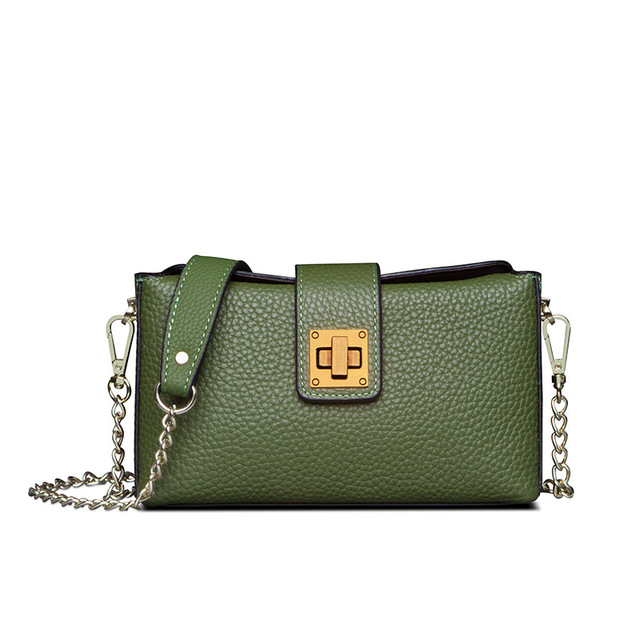 Concise and small and exquisite Genuine Leather Day Clutches mobile phone bag bright color magnetic buckle Calfskin chain bag