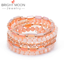BRIGHT MOON Fashion Natural Crystal Winding Bracelet Multilayer Boho Stone Bracelets for Women