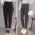 Korean version of the autumn and winter loose waist was thin wool trousers leisure pants black pants thicker models