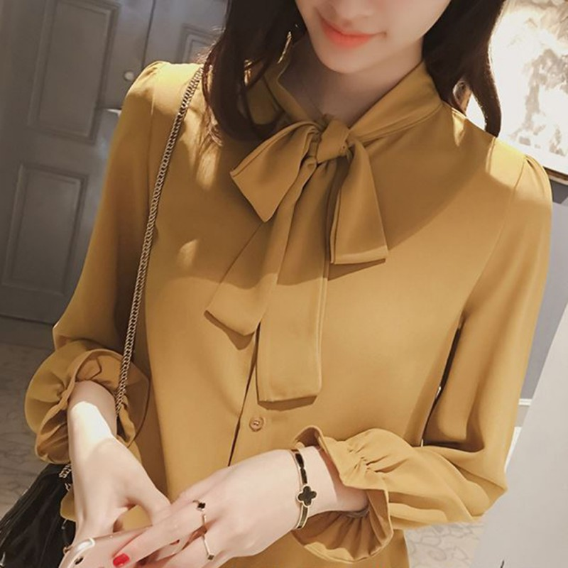 Elegant long sleeve women slim   shirt   spring fashion colthes bow chiffon   blouse   office ladies formal plus size tops Yellow