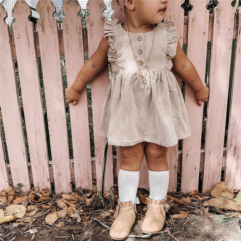 2019 Brand Newborn Kids Baby Girls Dress Vintage Floral Collar Lace Fly Sleeve  Solid Color Ruffle Party Dress Clothes 4JJ