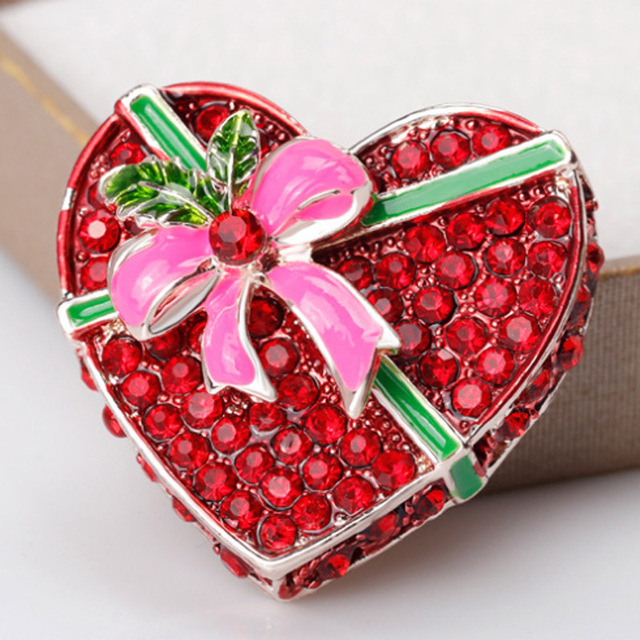 fashion christmas gifts box brooches jewelry for women nice bow pin brooch perfect red rhinestone scarf - Nice Christmas Gifts