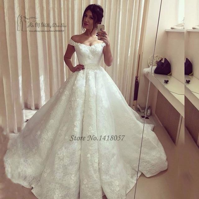 6ef39f93809ee الدانتيل فساتين زفاف تركيا الأميرة أثواب الزفاف قبالة الكتف الزهور الخرز الكرة  ثوب العروس اللباس 2017