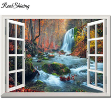 Full square round window landscape waterfall 5d diy diamond painting mosaic rhinestone picture room decorartion FS6471 цена