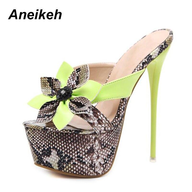 d98ba2c47a0 Aneikeh Women Sandals Shoes Sexy Snake Print Stiletto Super High Heels  Summer Platform ankle-strap Sandals zapatos de mujerUSD 19.26-22.86 pair