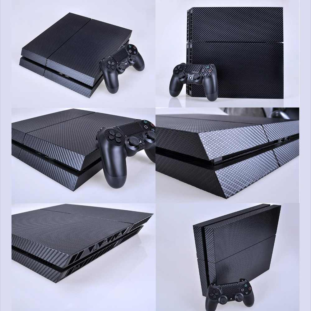 Black Carbon Fiber PS4 Skin PS4 Sticker Vinly Skin Sticker for Sony PS4 PlayStation 4 and 2 controller skins PS4 Stickers