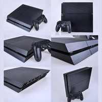 Autocollant PS4 peau noire en Fiber de carbone autocollant vinyle pour Sony PS4 PlayStation 4 et 2 contrôleur skins autocollants PS4
