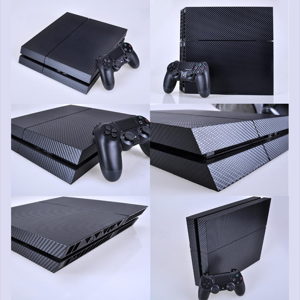 Black Carbon Fiber PS4 Skin PS4 Sticker Vinly Skin Sticker for Sony PS4 PlayStation 4 and 2 controller skins PS4 Stickers image