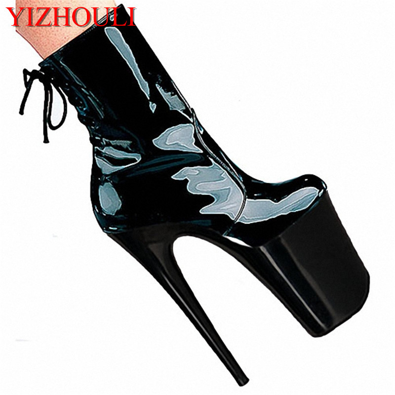 20cm thin heels high-heeled shoes ultra high platform boots paint evening shoes women's shoes 8 inch sexy short boots 20cm sexy ultra high heeled platform shoes performance shoes platform black pu leather single shoes 8 inch fashion crystal shoes