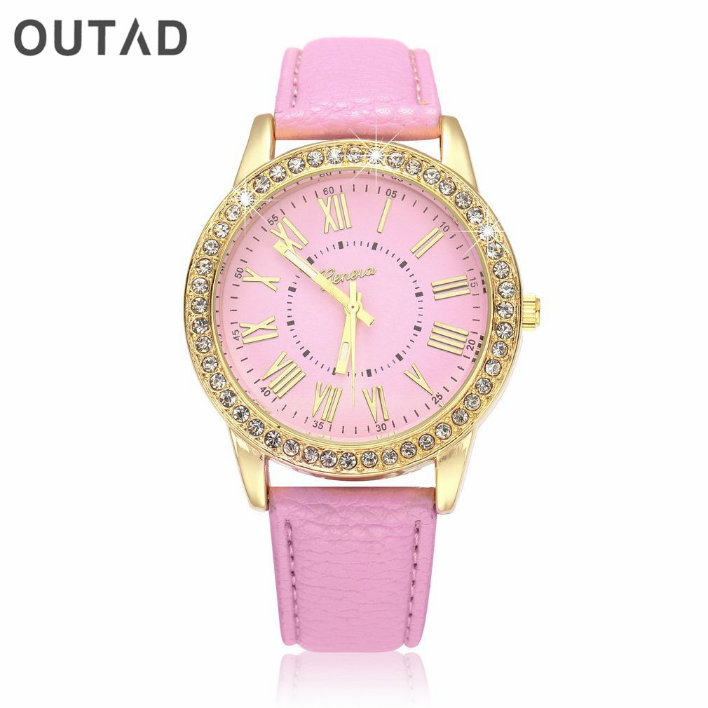 OUTAD Girls Quartz Wrist Watch Fashion Crystal Faux Leather Strap Analog Roman Number Golden Diamond Dial School Womens fashion dress watch elegant crystal dial red faux leather band strap blink quartz analog casual lady women wrist watch stylish