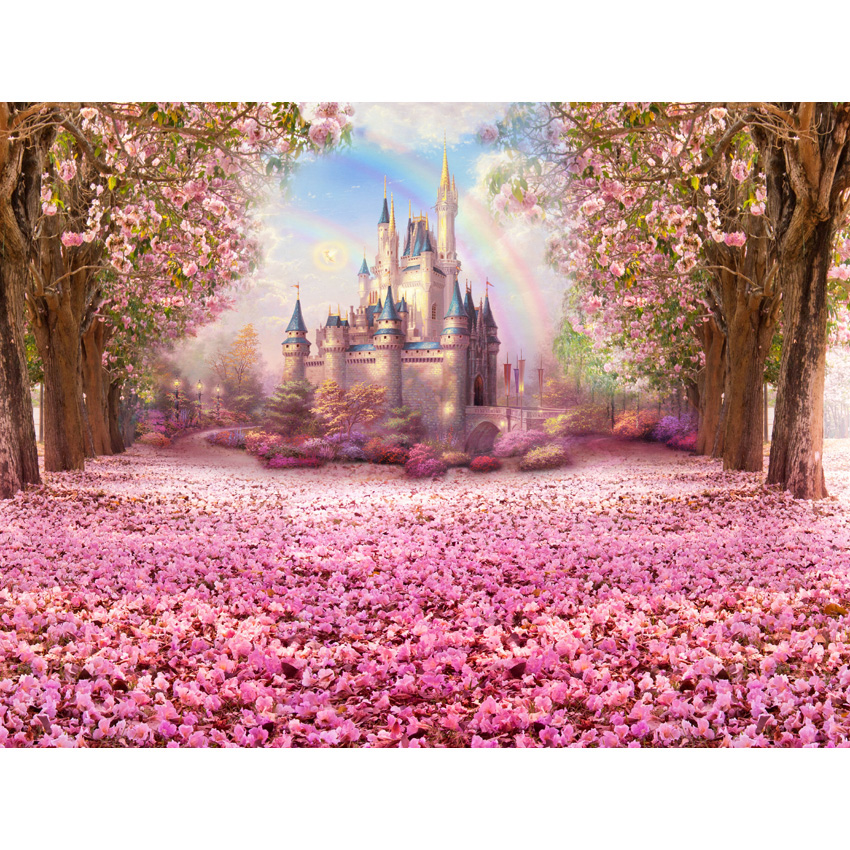 Image 2 - Cherry Pink Flowers Spring Photography Backdrop Rainbow Fairy tale Castle baby shower Children Princess Photo Background S 2711-in Background from Consumer Electronics