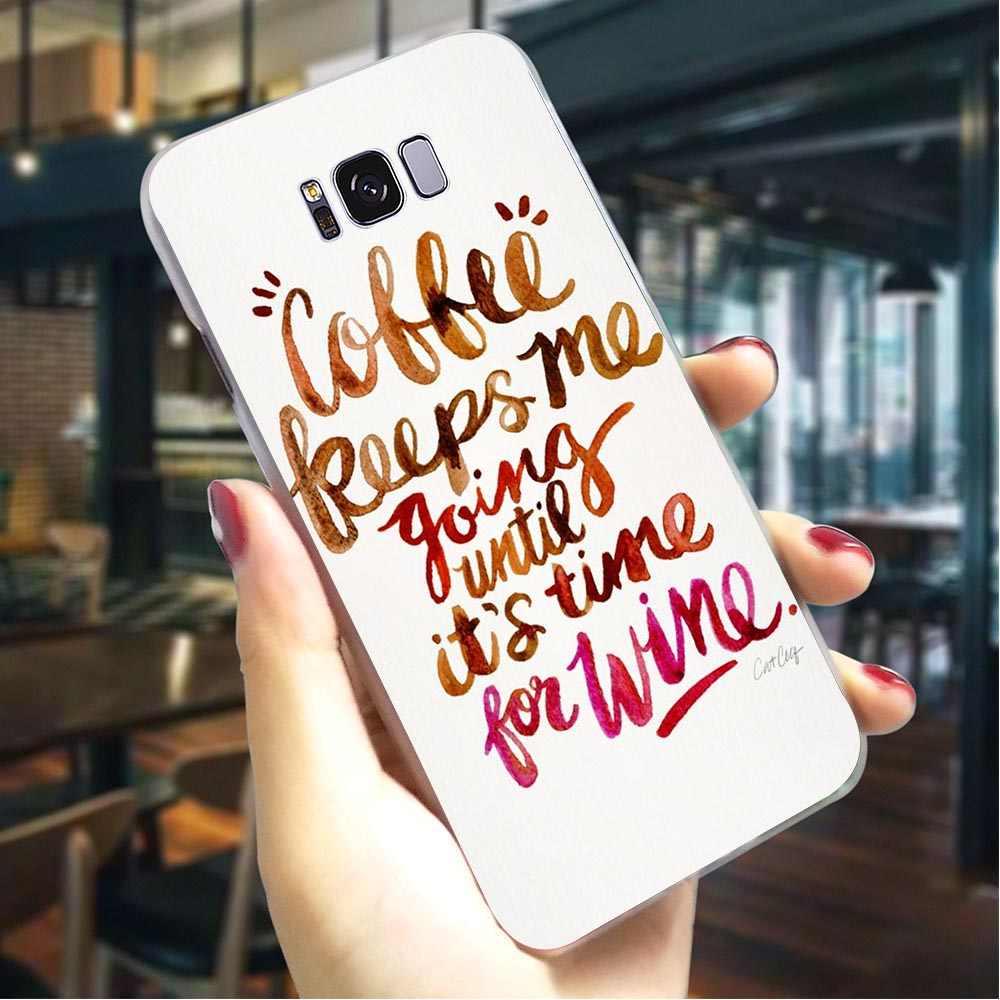 Кофе вина жесткий чехол для Samsung Galaxy A3 2017 чехол для телефона для A5 2016 A6 2015 A7 2018 A8 плюс A9 A10 A20 A30 A40 A50 A70
