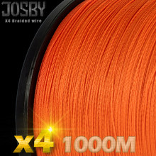 JOSBY 4 Strands 1000M PE Braided Fishing Line Saltwater Weave Carp Fishing Cord Pesca Wire Super Strong Orange multicolor color(China)