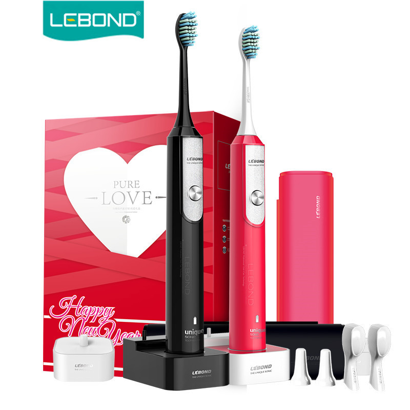 LEBOND Sonic Electric Toothbrush Rechargeable LOVE 2Pcs Giftbox 3 Modes Inductive Charing Base Traveling Waterproof For Adults