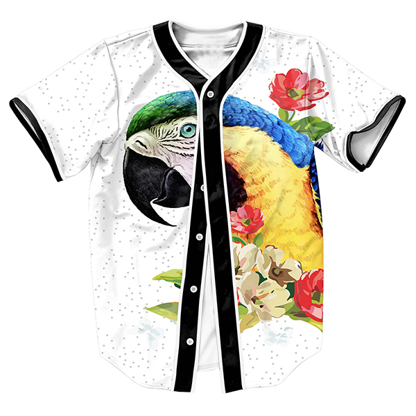 Mens shirts Parrot colorful Jersey overshirt Streetwear Hip Hop with Single Breasted summer baseball shirt PLUS SIZE top tees