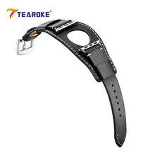 Ремешок для часов TEAROKE из натуральной кожи для Apple Watch 4 5 38 мм 42 мм 40 мм 44 мм черный сменный Браслет ремешок для iwatch 1 2 3
