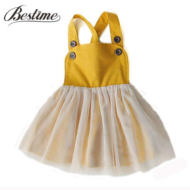77d456f04e 1-3y Princess Baby Dress Mustard Yellow Shoulder Strap Dresses for Girls  Fashion Kids Clothes 2017