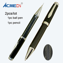 2pcs / lot 1pc Ball Pen & Pencil Carbon fiber Couple Set for Men Gifts Classic Office School Writing Stationery Sets