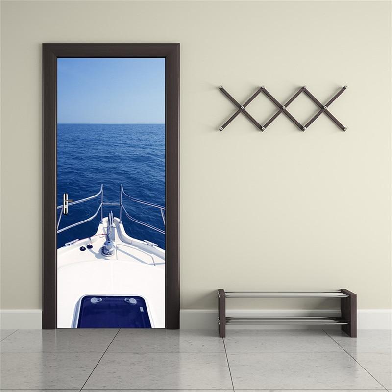 2 개 / 대 방수 DIY 3D 벽 스티커 벽화 포스터 PVC 문 - 가정 장식 - 사진 4