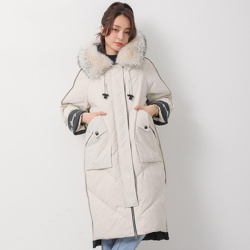 Thick Winter White Duck Down Jacket Women Large Fur Collar Long Outerwear Female Parkas 2019 New Oversized Women's Down Coat